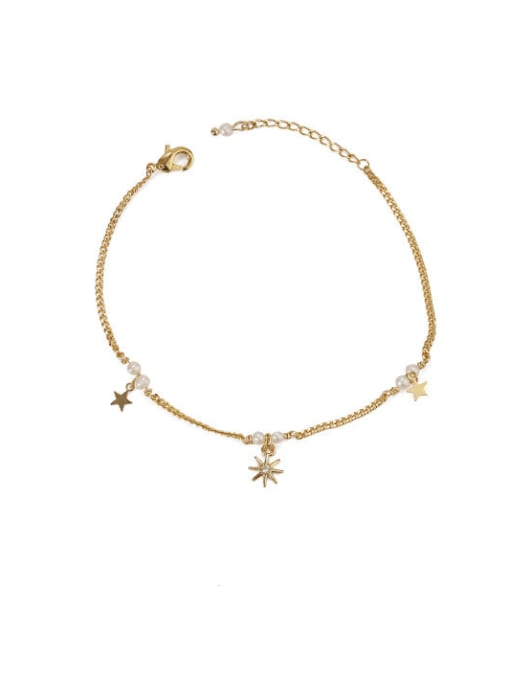 Five Color Brass Cubic Zirconia Star Minimalist Link Bracelet 2