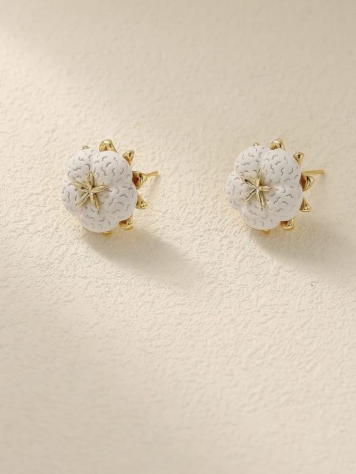 14k Gold Brass Resin Flower Minimalist Stud Earring