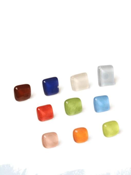 Translucent white Alloy Glass Stone Enamel Geometric Minimalist Stud Earring