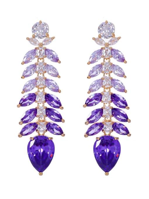 purple Brass Cubic Zirconia Leaf Luxury Drop Earring