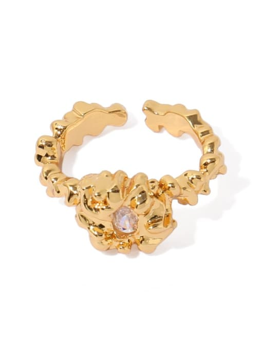 ACCA Brass Cubic Zirconia Irregular Vintage Band Ring 4