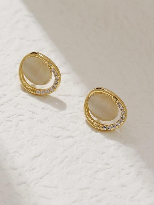 HYACINTH Brass Cats Eye Geometric Minimalist Stud Trend Korean Fashion Earring