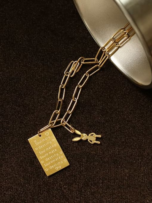 ACCA Titanium English square tag Personality  rabbit  Hip Hop Long Strand Necklace 3