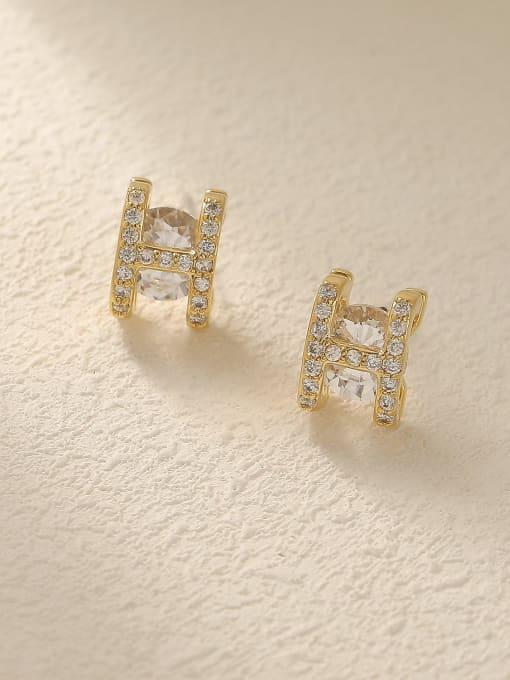 HYACINTH Brass Glass Stone Letter Minimalist Stud Trend Korean Fashion Earring 0