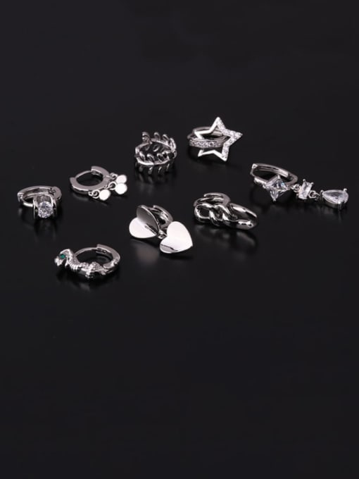 HISON Brass Cubic Zirconia Geometric Hip Hop Huggie Earring 3