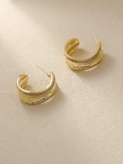 14k Gold Brass Geometric Vintage Stud Earring