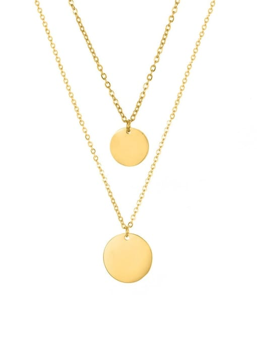golden Stainless steel Round Minimalist Multi Strand Necklace