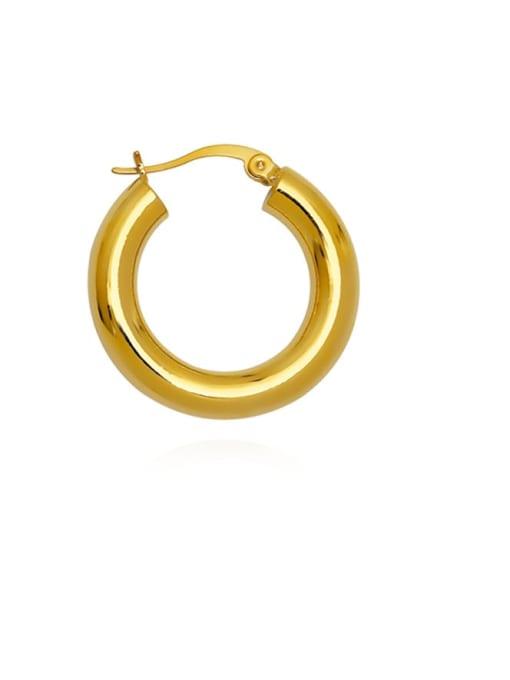 HYACINTH Brass  Smooth Geometric Vintage Hoop Earring 4