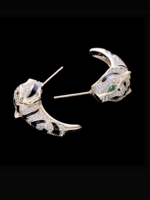 SUUTO Brass Cubic Zirconia Leopard Cute Stud Earring 3