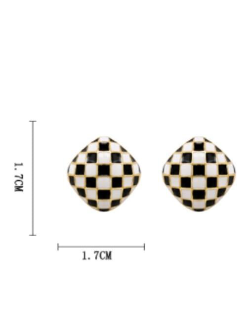 HYACINTH Brass Enamel Geometric Vintage Stud Earring 3