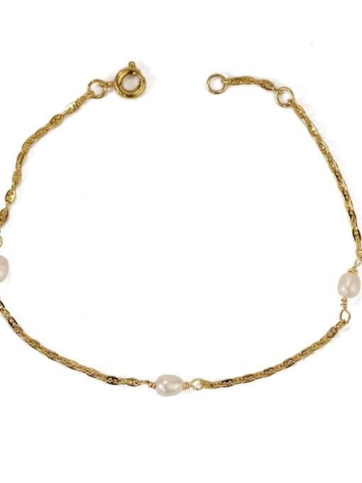 ACCA Brass Freshwater Pearl Irregular Minimalist Link Bracelet 4