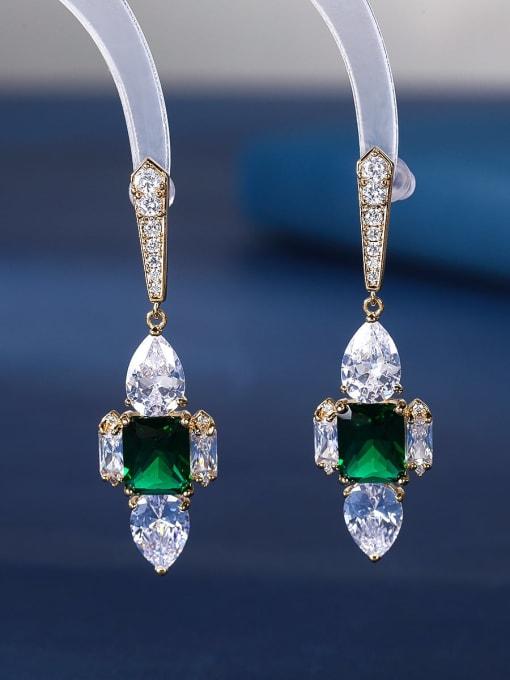 green Brass Cubic Zirconia Cross Luxury Stud Earring