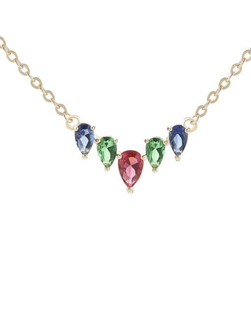 Champagne gold Brass Cubic Zirconia Heart Minimalist Necklace