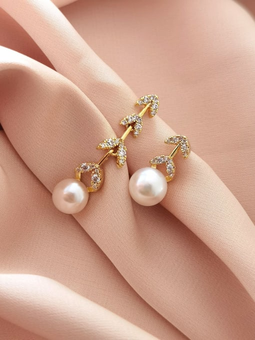 HYACINTH Brass Imitation Pearl  Asymmetry Geometric Minimalist Drop Earring 2