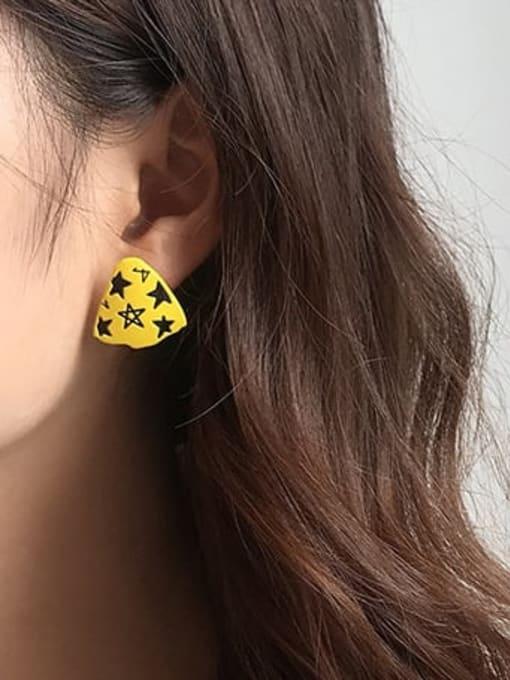 Five Color Alloy Enamel  Cute  Cartoon yellow star geometric wings Stud Earring 3