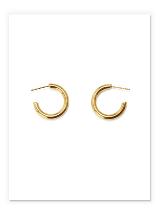 Small Brass Smooth Geometric Minimalist Hoop Earring