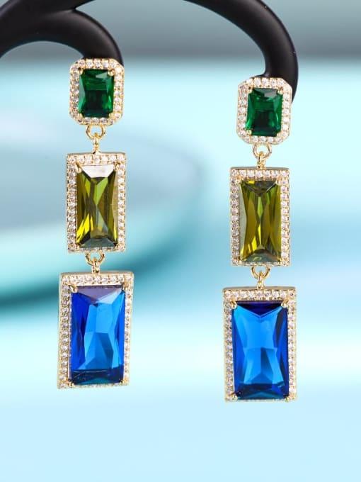 18 k gold Brass Cubic Zirconia Geometric Luxury Drop Earring