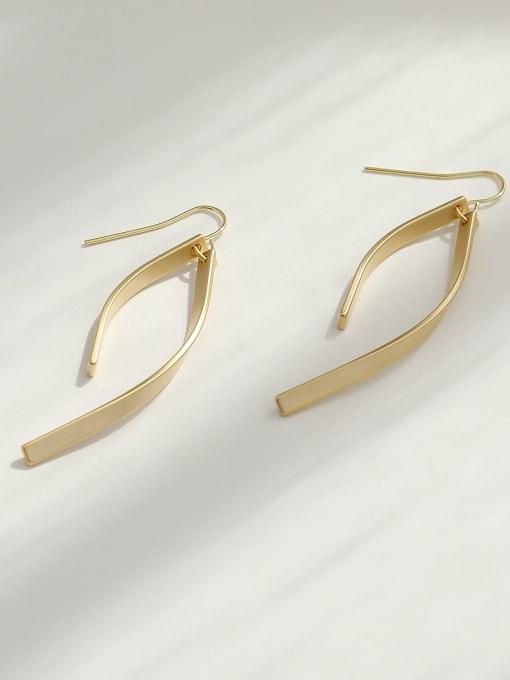 HYACINTH Brass Smooth Irregular Minimalist Hook Earring 4