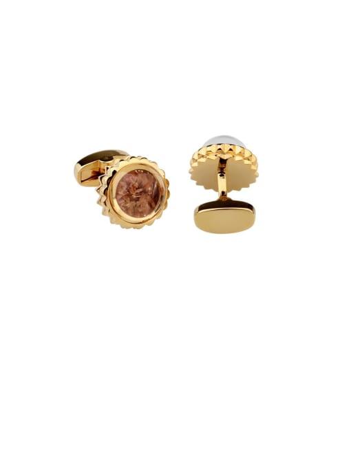 golden Brass Amber Flower Vintage Cuff Link