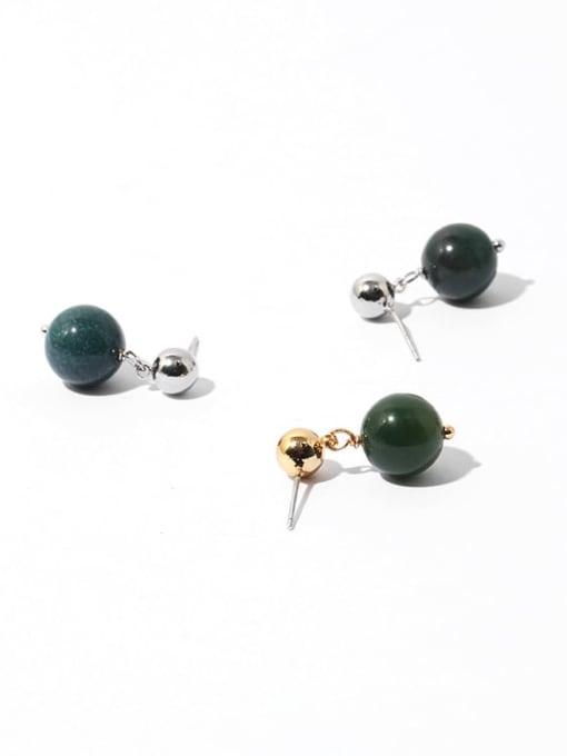 TINGS Brass Emerald Geometric Ethnic Stud Earring 3