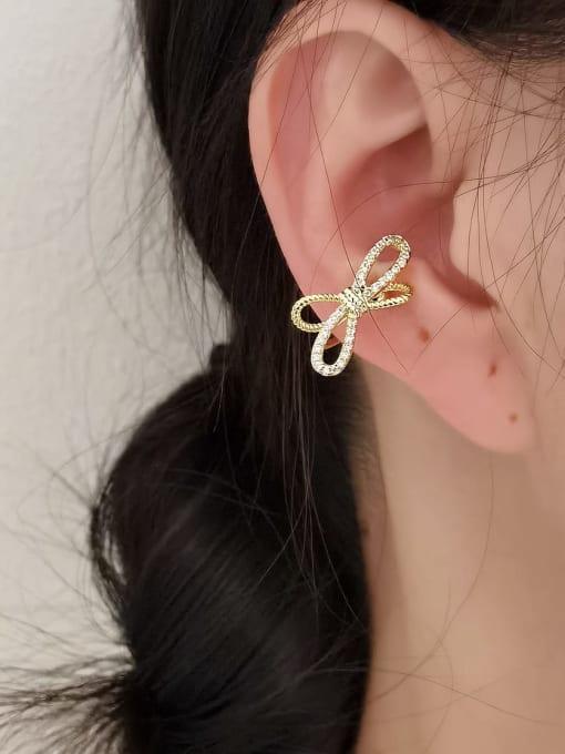HYACINTH Brass Cubic Zirconia Bowknot Minimalist Clip Earring 1