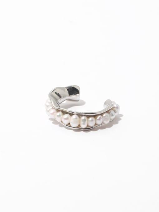 Platinum Brass Imitation Pearl Geometric Vintage Band Ring