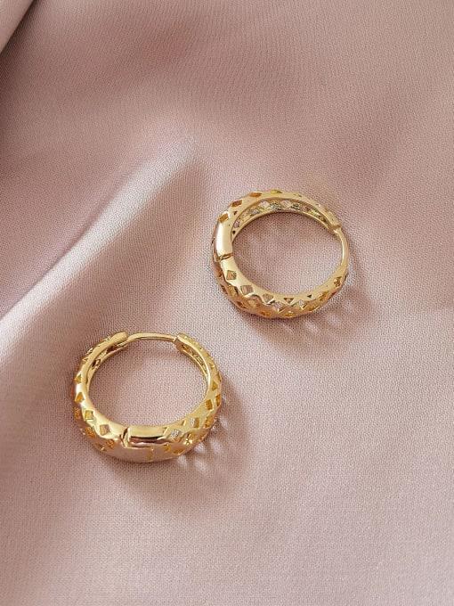 14k Gold Brass Hollow Geometric Vintage Huggie Earring