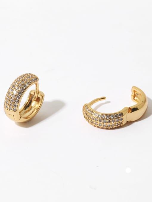 TINGS Brass Cubic Zirconia Geometric Hip Hop Huggie Earring(single)