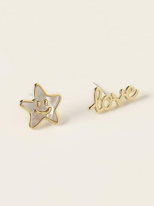 14k Gold Brass Enamel Asymmetry Letter Minimalist Stud Earring