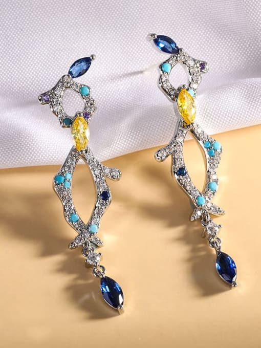 Platinum Brass Cubic Zirconia Geometric Luxury Drop Earring