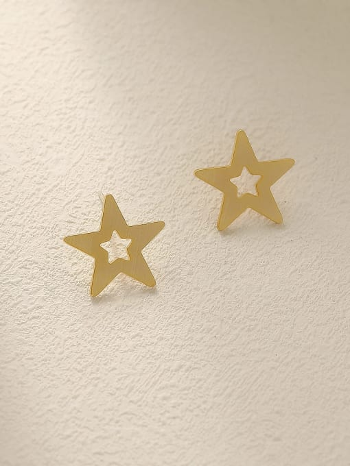 HYACINTH Brass  Hollow Star Minimalist Stud Earring 0
