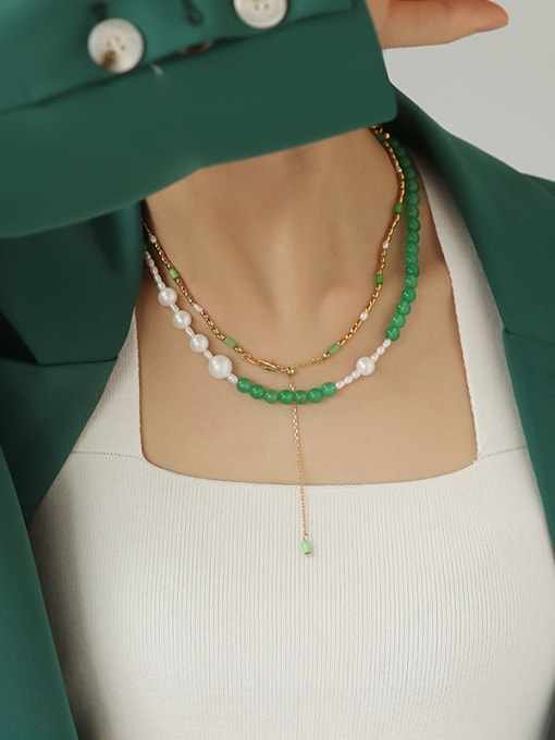 TINGS Brass Imitation Pearl Geometric Hip Hop Beaded Necklace 2
