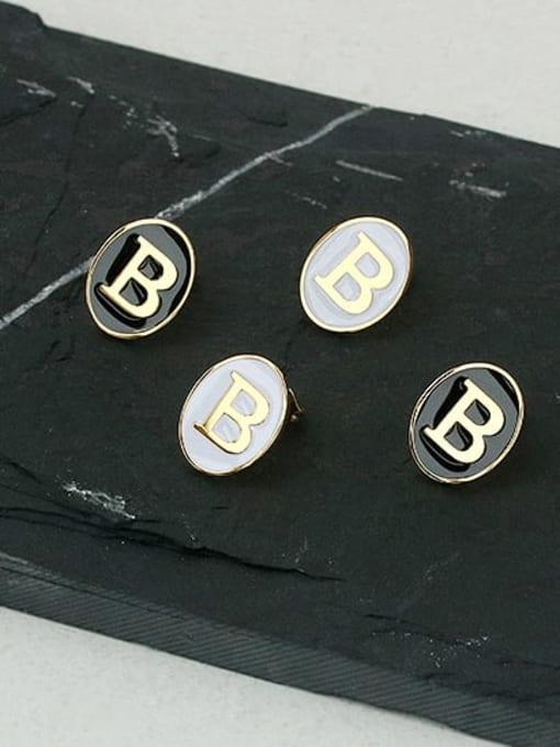 ACCA Brass Enamel Letter Cute Stud Earring 1