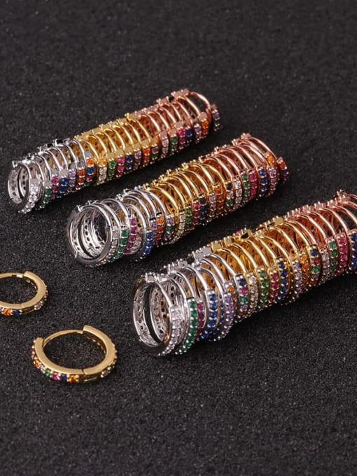 HISON Brass Cubic Zirconia Round Hip Hop Huggie Earring 2
