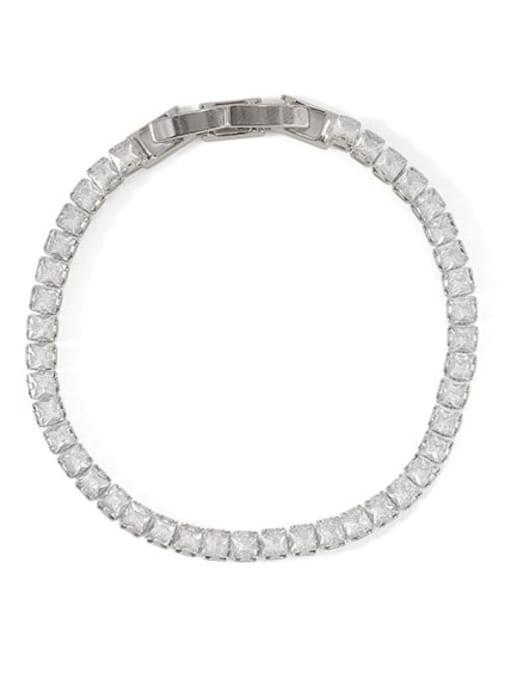platinum bracelet Brass Cubic Zirconia Geometric Dainty Bracelet