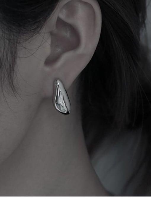 TINGS Brass Smooth Irregular Minimalist Stud Earring 1