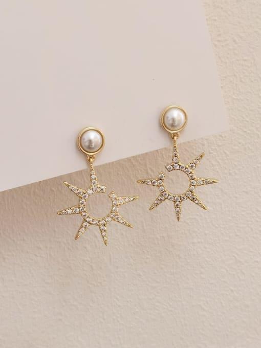 HYACINTH Brass Cubic Zirconia Star Minimalist Drop Earring
