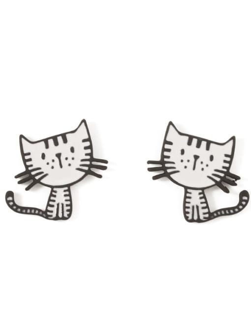 Five Color Alloy Enamel Cat Cute Stud Earring 3