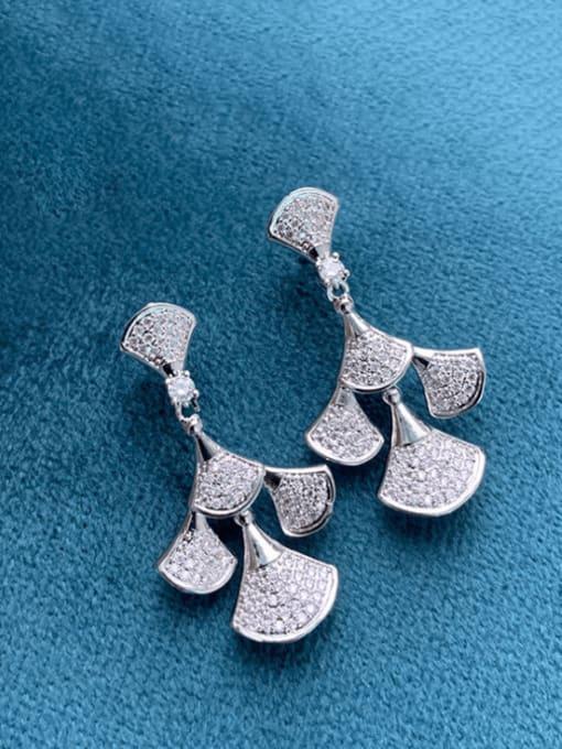 SUUTO Brass Cubic Zirconia Irregular Luxury Drop Earring 2