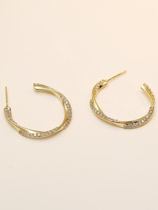 HYACINTH Brass Cubic Zirconia Geometric Hip Hop Hoop Earring 3