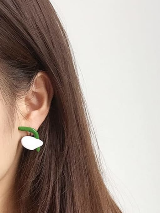 Five Color Alloy Enamel Cute Individuality abstract lines contrast color  Single Earring 3