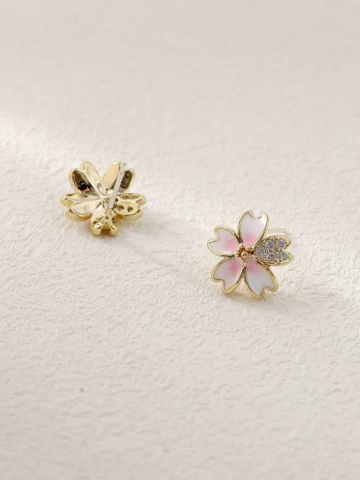 HYACINTH Brass Enamel Heart Flower Cute Stud Trend Korean Fashion Earring 3