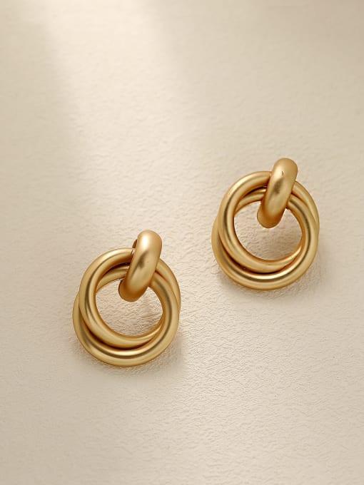 HYACINTH Brass Smooth Geometric Vintage Drop Earring