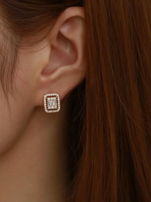 Five Color Brass Cubic Zirconia Geometric Vintage Stud Earring 1