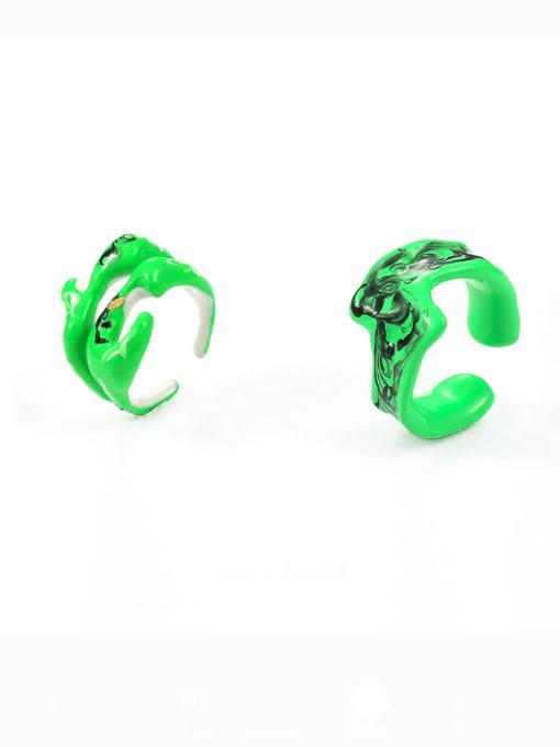 Five Color Zinc Alloy Enamel Irregular Hip Hop Band Ring 0