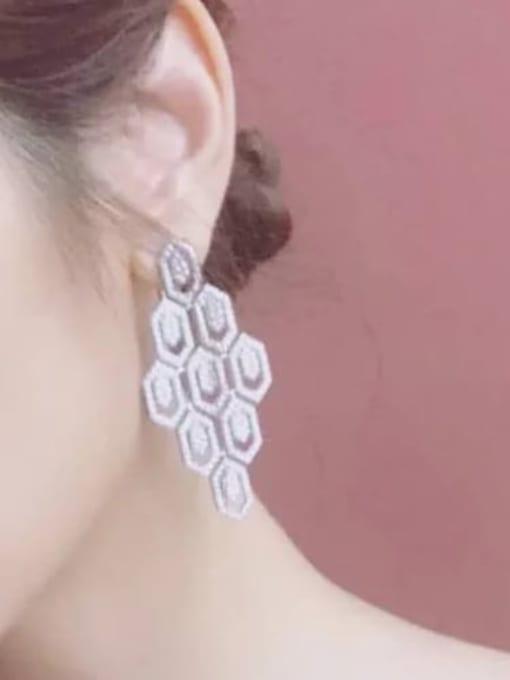 SUUTO Brass Cubic Zirconia Geometric Hip Hop Cluster Earring 2