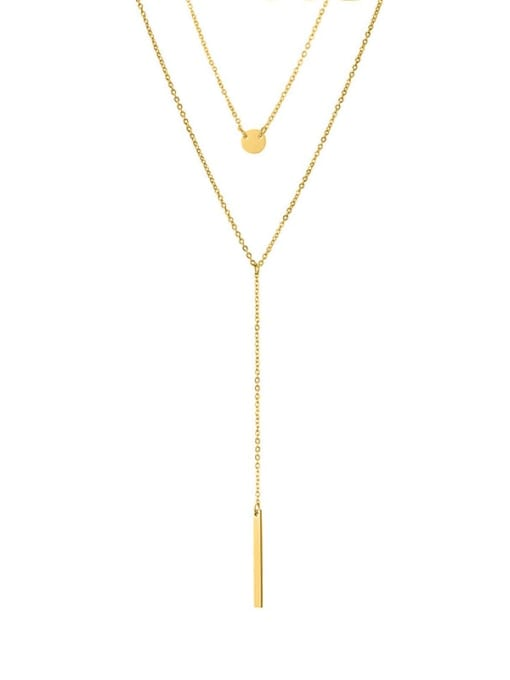 golden Stainless steel Tassel Minimalist Multi Strand Necklace