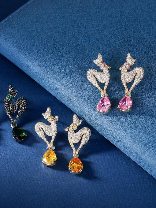 OUOU Brass Cubic Zirconia Water Drop Luxury Stud Earring 1