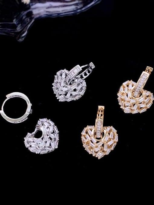 SUUTO Brass Cubic Zirconia Heart Minimalist Huggie Earring 2
