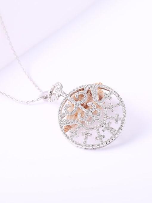 YILLIN Brass Cubic Zirconia Round Minimalist Necklace 1